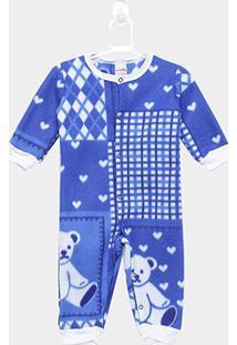 Body Bebê Candy Kids Urso - Masculino-Azul