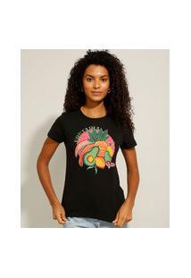 """Camiseta De Algodão """"Frutaria"""" Manga Curta Decote Redondo Preto"""