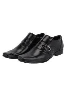 Sapato Social Em Couro Costura Transversal Leoppé Preto