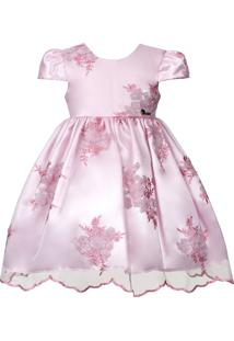 Vestido Infantil Cattai De Renda Rosa