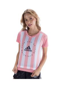 Camiseta Adidas Slim Fit Graphic - Feminina - Rosa Cla/Branco