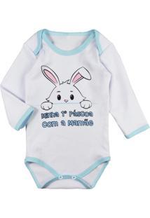 Body Para Bebê Para Menino Minha Primeira Páscoa Branco - Kanui
