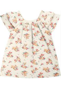 Vestido Infantil Estampado Bege
