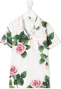 Dolce & Gabbana Kids Blusa Com Estampa De Rosas - Branco