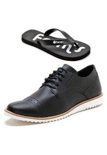 Sapato Social Masculino Oxford Form'S + Chinelo Preto