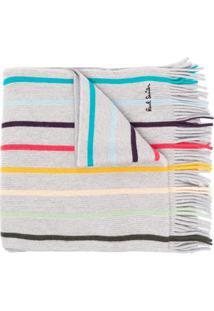 Paul Smith Cachecol De Lã E Tricô Com Listras - Cinza
