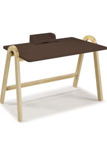 Mesa Escrivaninha Com Porta Objetos Ringo 1031 Natural/Marrom Escuro - Maxima