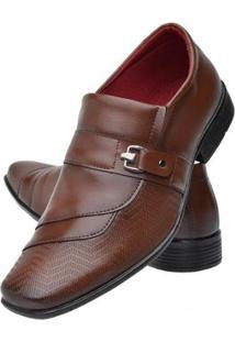 Sapato Social Masculino Textura Bico Quadrado Leve Macio - Masculino-Marrom