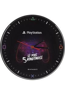 Relógio De Parede Kathavento Play Station Preto