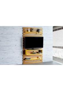 Rack Suspenso Standby - Painel De Madeira Para Tv Até 45 Polegadas Nózes E Amarelo - 100X23X172 Cm