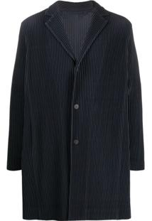 Homme Plissé Issey Miyake Ribbed Button Front Light Coat - Azul