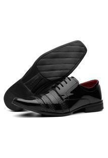 Sapato Social Masculino Cadarço Lorenzzo Lopez Verniz Preto