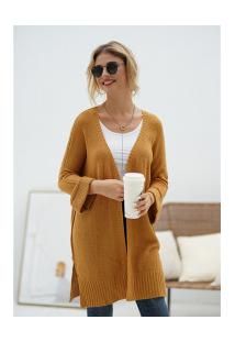 Cardigan De Lã Astana Feminino - Marrom