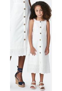 Vestido Branco Midi Com Bordado Laíse Filha