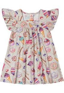 Vestido Marisol Cinza Bebê Menina
