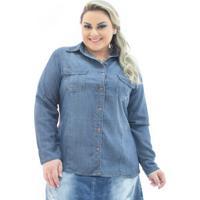 e430b9497 Camisa Jeans Feminina Manga Longa Com Bolsos Plus Size