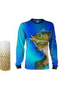 Camisa + Máscara Pesca Quisty Tilápia Bocuda Azul Proteção Uv Dryfit Infantil/Adulto - Camiseta De Pesca Quisty