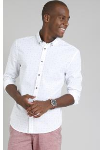 Camisa Masculina Slim Estampada Mini Print Manga Longa Branca