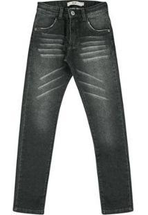 Calça Infantil Look Jeans Moletom Masculina - Masculino-Preto