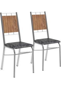 Kit 2 Cadeiras Mdp Native Tecil Fantasia Preto Cromado Móveis Carraro