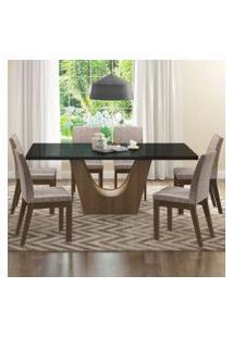 Conjunto Sala De Jantar Madesa Alice Mesa Tampo De Vidro Com 6 Cadeiras Rustic/Preto/Fendi