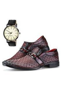 Sapato Social Dhl Calçados Neway Ws Shoes Vinho + Relógio