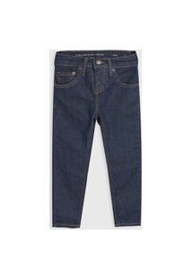 Calça Jeans Calvin Klein Kids Infantil Pespontos Azul-Marinho