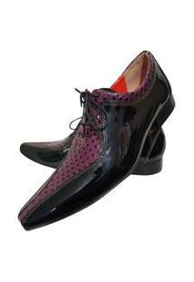 Sapato Masculino Italiano Oxford Em Couro Art Sapatos Vinho Xadrez