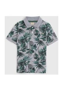 Camisa Milon Infantil Folhagem Cinza/Verde