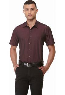 Camisa Clássica Maquinetada Manga Curta 1882 Vinho