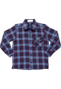 Camisa Manga Longa Juvenil Para Menino - Azul/Vermelho