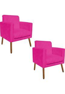 Kit 02 Poltronas Decorativa Thais Suede Pink Tressê Pés Palitos - D'Rossi