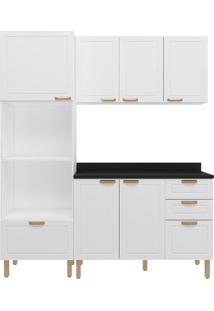 Cozinha Modulada 4 Peças Com Tampo E Nevada 5910Tp-Multimóveis - Branco Premium