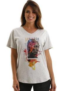 Camiseta Equivoco Poeta Feminina - Feminino-Cinza