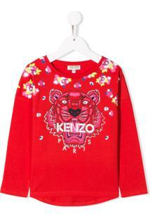 Kenzo Kids Blusa Com Bordado De Tigre E Logo - Vermelho