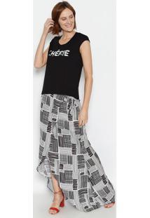 "Camiseta ""Chérie""- Preta & Branca- Ênfase Plusênfase Plus"