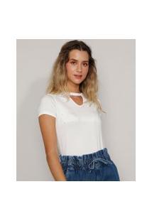 Camiseta Feminina Básica Choker Com Pérolas Manga Curta Off White