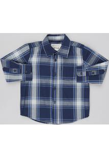 Camisa Infantil Estampada Xadrez Com Bolso Manga Longa Azul Marinho