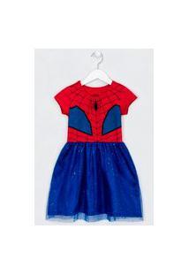 Vestido Infantil Fantasia Estampa Homem Aranha - Tam 5 A 14 Anos | Homem Aranha | Vermelho | 11-12