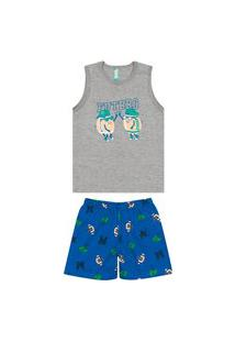 Pijama Infantil Menino Curto Malwee 1000088323 Cinza