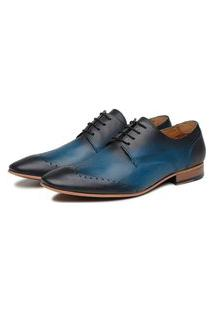 Sapato Social Azul Em Couro Veg 32212