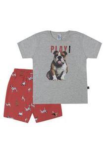 Pijama Meia Malha - 46550-567 - (1 A 3 Anos) Pijama Mescla Cinza - Primeiros Passos Menino Meia Malha Ref:46550-567-3