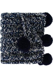 0711 Cachecol Com Pompom - Azul