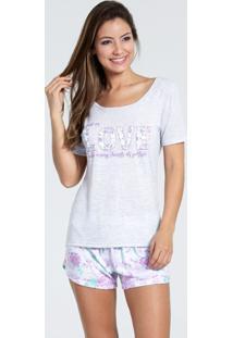 Pijama Short Doll Feminino Estampa Floral Marisa