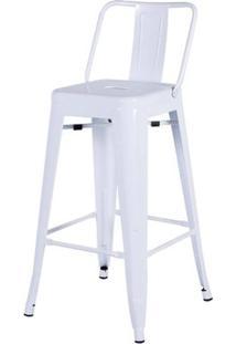 Banqueta Iron Encosto Baixo Branco 85 Cm (Alt) - 43408 - Sun House
