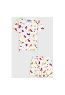 Pijama Tricae Curto Infantil Dinossauro Branco/Laranja