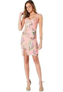 Vestido Lala Dubi Midi Com Fenda Butterfly Feminino - Feminino-Rosa