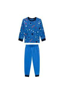 Conjunto Pijama Astral Azul Onda Marinha Multicolorido