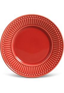 Prato Sobremesa Roma Cerâmica 6 Peças Vermelho Porto Brasil