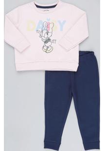 e6096beb04 Conjunto Infantil Margarida De Blusão Manga Longa Rosê + Calça Em Moletom  Azul Marinho
